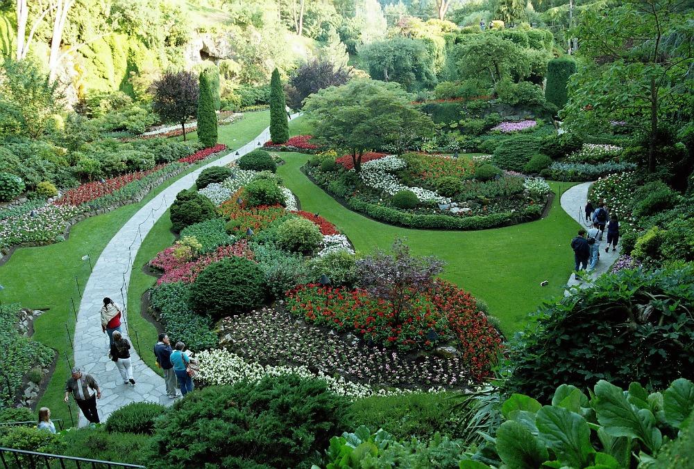 Famous Sunken Garden view from Butchart Gardens Victoria BC