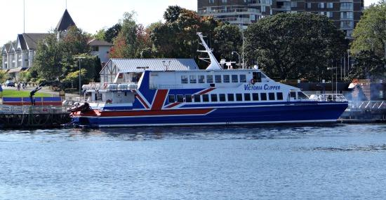 Victoria clipper at Victoria inner harbour - Seattle to Victoria fly and sail package is offered with sailing on Clipper ferry