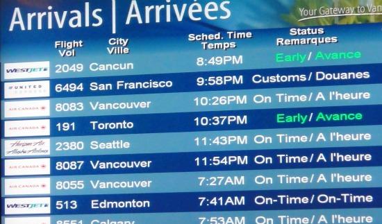 Flight to Victoria - Arrivals